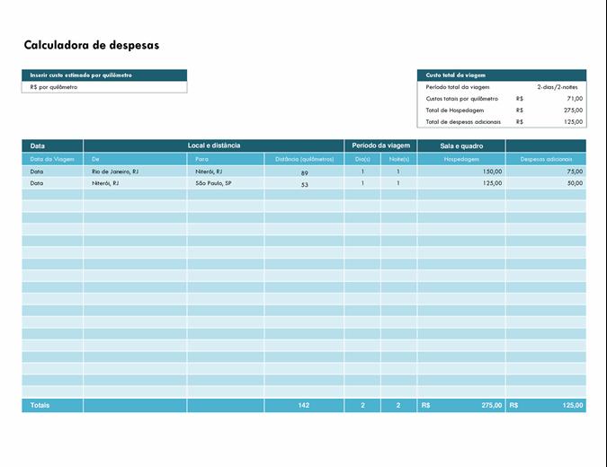 Calculadora de despesas de viagem