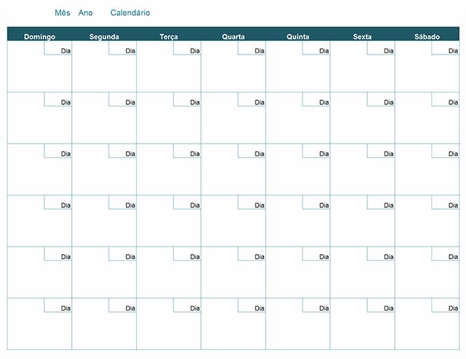 Calendário mensal em branco