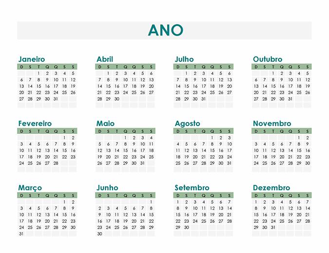 Criador de calendário (por ano)