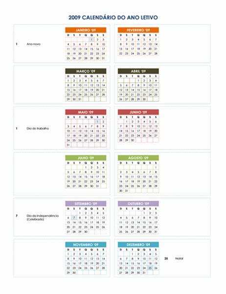 Calendário acadêmico de 2009 (1 pág.)