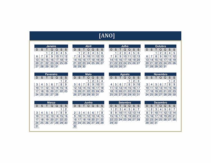 Calendário (qualquer ano)