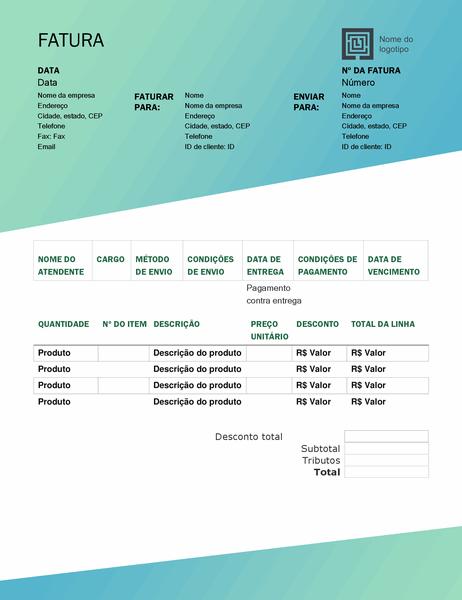 Fatura de vendas (design Gradiente Verde)