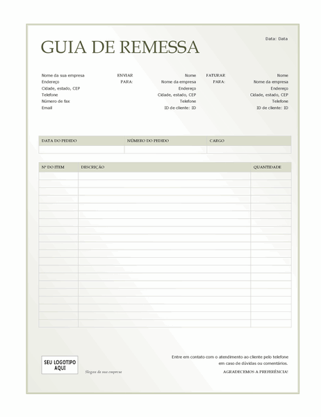 Guia de remessa (design Gradiente Verde)