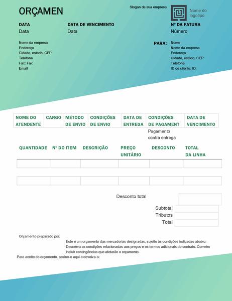 Orçamento de vendas (design Gradiente Verde)