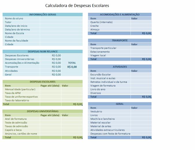 Calculadora de despesas escolares