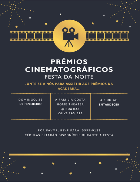 Convite para festa de premiação de cinema