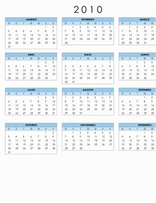 Calendário 2010 (1 pág., paisagem, Seg-Dom)