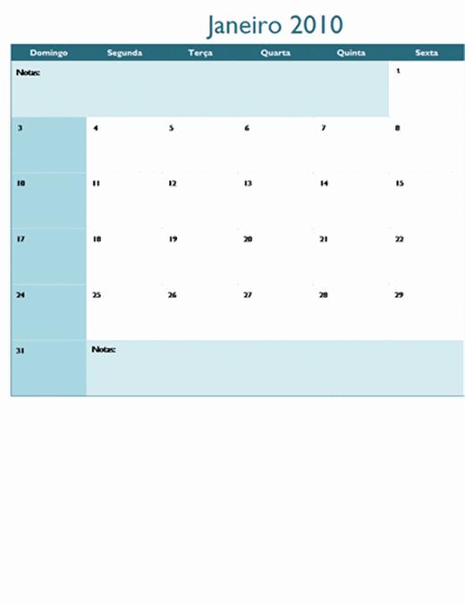 Calendário de 2010 em várias planilhas (12 págs, Seg-Dom)