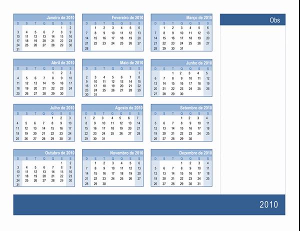 Calendário de 2010 com espaço para anotações (1 página, segunda a domingo)