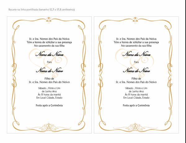 Convites de casamento (Design de Rolagem de Copas, tamanho A7, 2 por página)