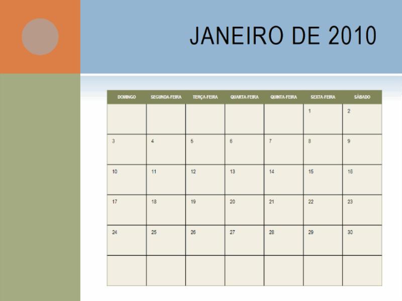 Calendário de 2010 (segunda a domingo)