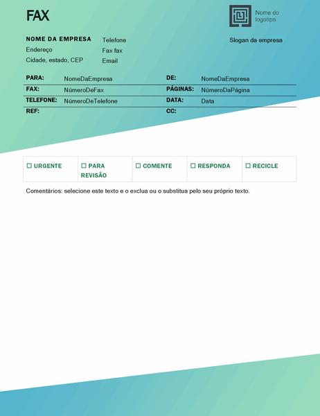 Folha de rosto de fax (design Gradiente Verde)