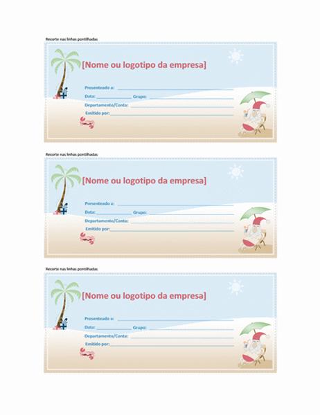 Vale-presente (design de Papai Noel no verão)