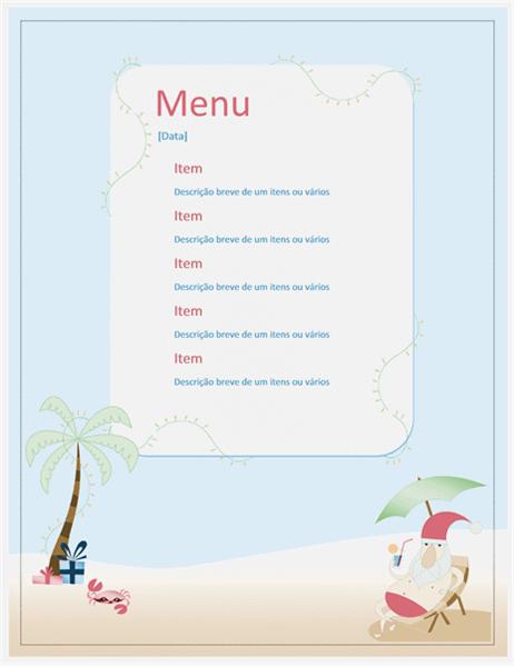 Menu de festa (design de Papai Noel no verão)