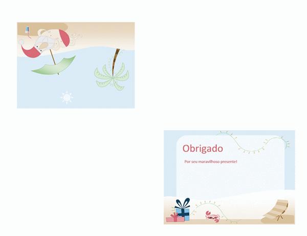 Cartão de agradecimento (design de Papai Noel no verão)
