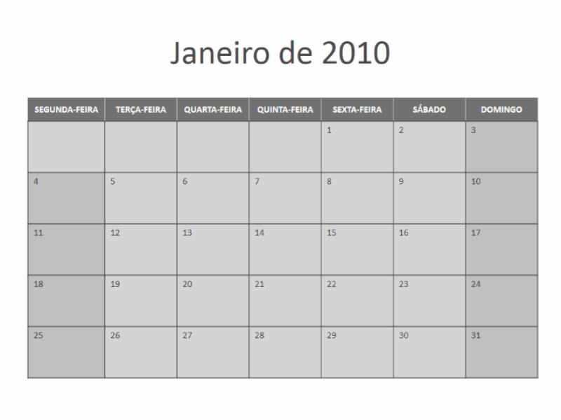 Calendário de 2010