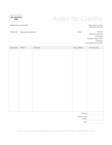 Aviso de crédito (design Verde)