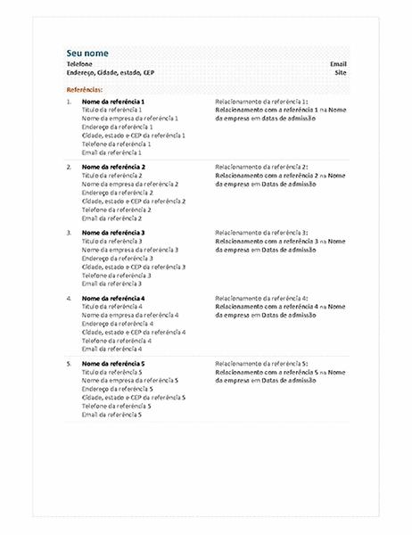 Folha de referência de CV funcional