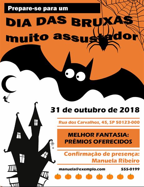 Panfleto para festa do Dia das Bruxas com um morcego assustador