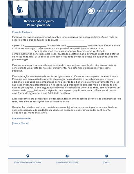 Carta de terminação de seguro de saúde