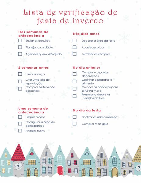 Lista de verificação da festa de férias de inverno