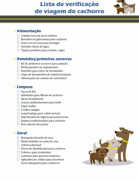 Lista de verificação de viagem do cachorro