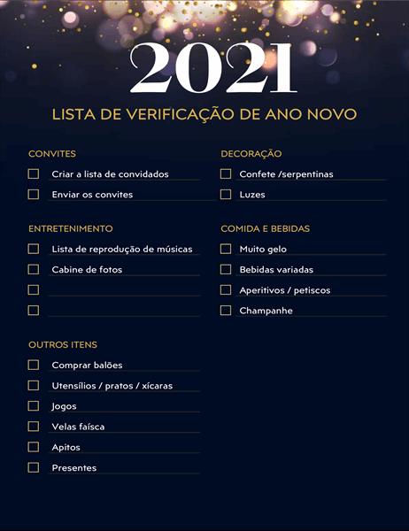 Lista de verificação da festa de Ano Novo