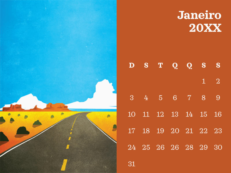 Calendário mensal com cenários ao ar livre