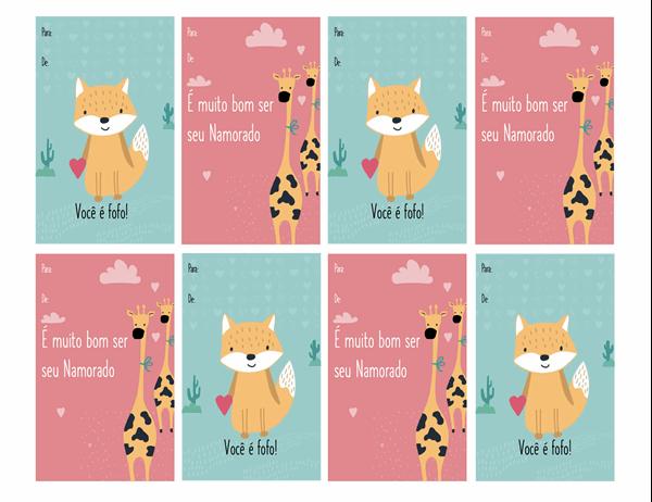 Cartões do Dia de São Valentim para crianças