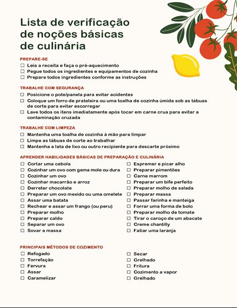 Lista de verificação de noções básicas de culinária