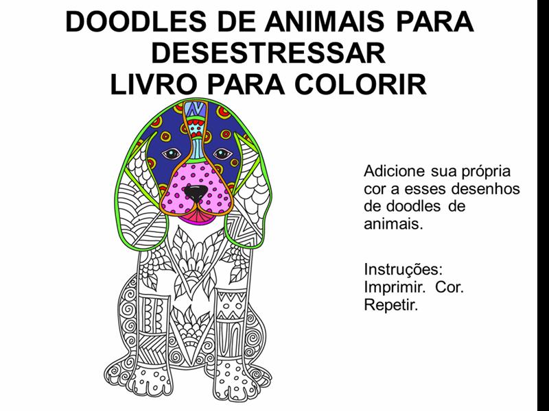 Livro para coloris de esboços de animal para desestressar