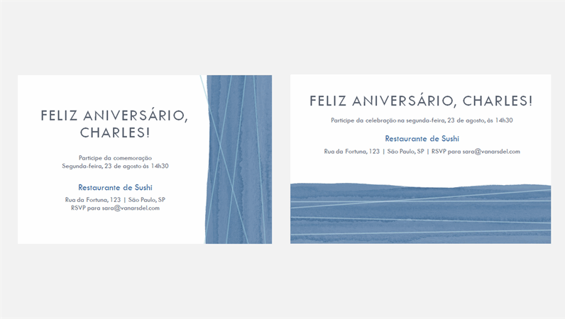 Convites de festa com laço azul (dois por página)