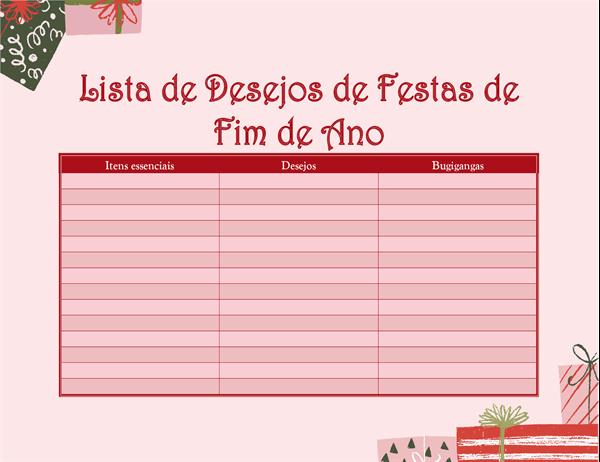 Lista de desejos de Natal para adultos