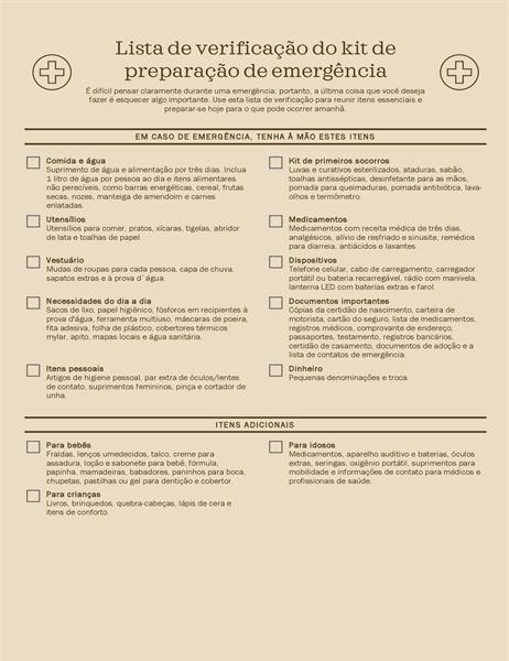 Lista de verificação do Kit de Preparação de Emergência