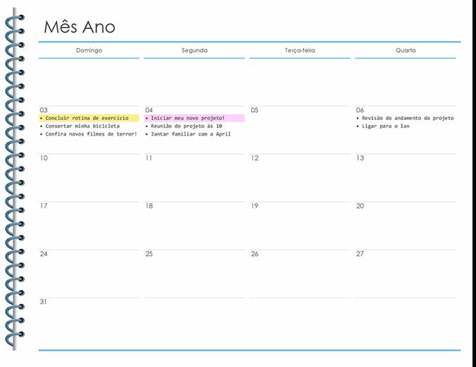 Planejador pessoal mensal
