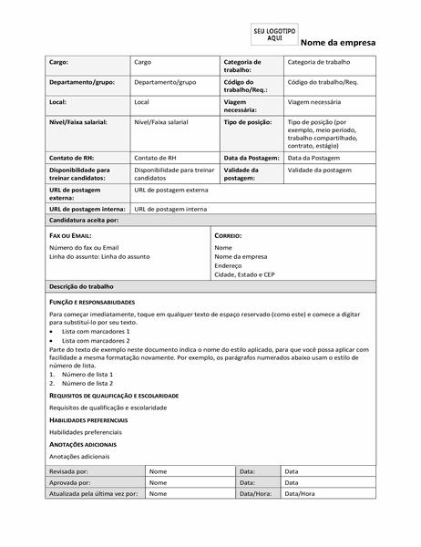 Formulário de descrição do trabalho