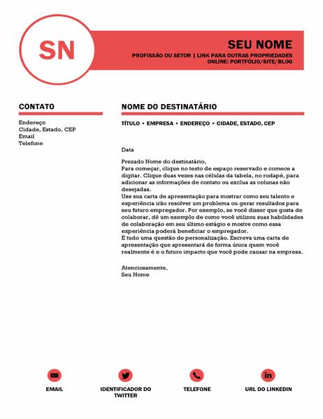 Carta de apresentação elegante, elaborada pela MOO