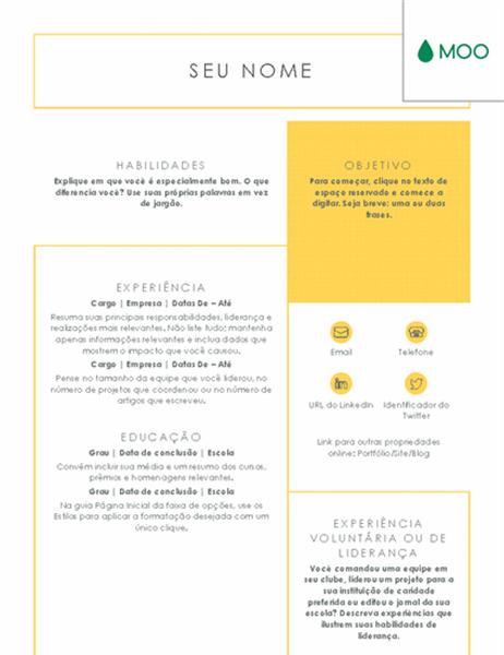 Currículo simples e direto, elaborado pela MOO