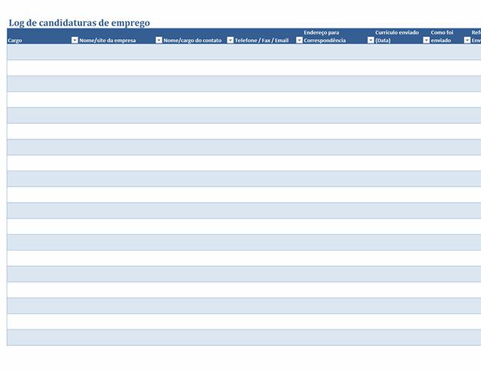 Registro de candidaturas de emprego