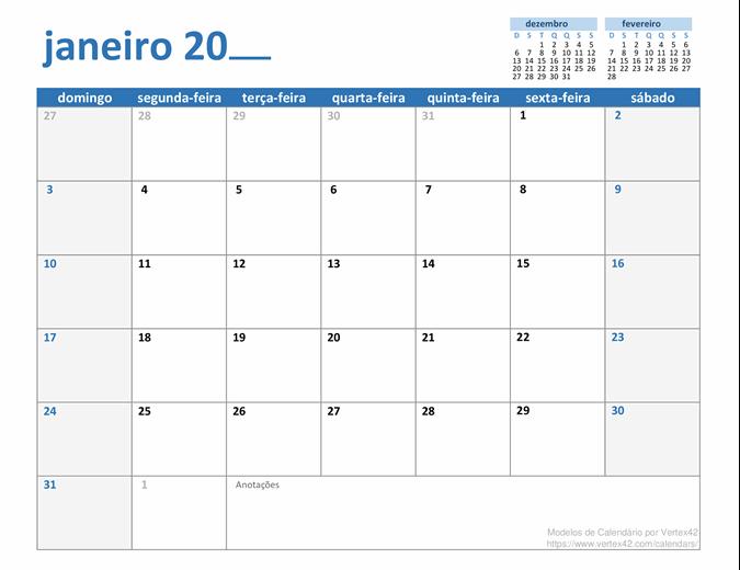 Qualquer calendário mensal do ano