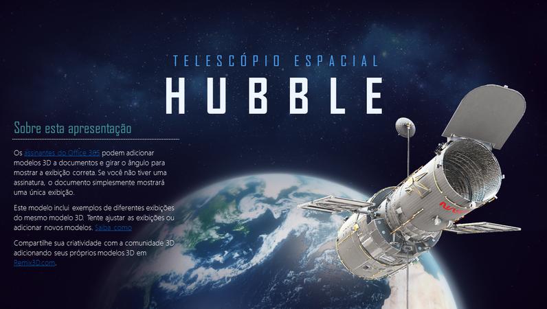 Apresentação do PowerPoint em 3D (modelo do telescópio Hubble)