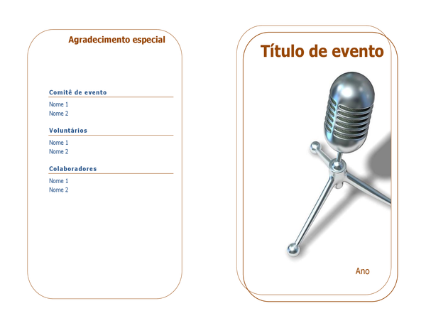 Programa do evento (dobra simples)