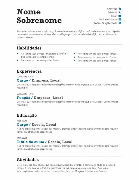 Currículo balanceado (Design moderno)