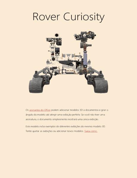 Relatório científico em 3D do Word (modelo do rover de Marte)