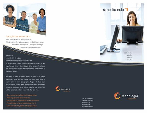 Folheto comercial de tecnologia (três dobras)