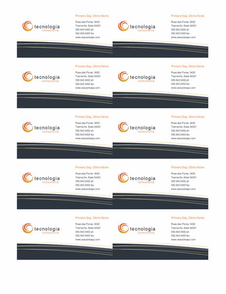 Cartão de visita de tecnologia (10 por página)