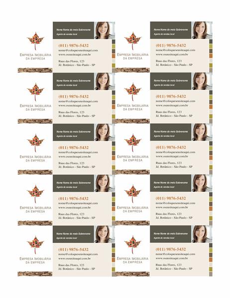Cartão de visita para empresas do setor imobiliário (10 por página)