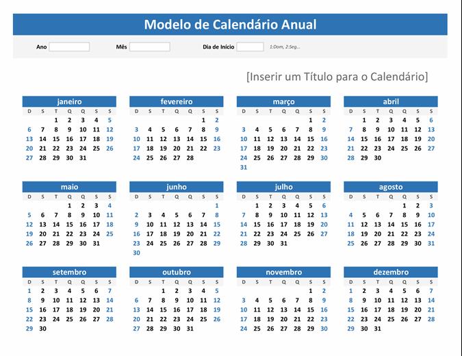 Calendário rápido de qualquer ano (orientação paisagem)