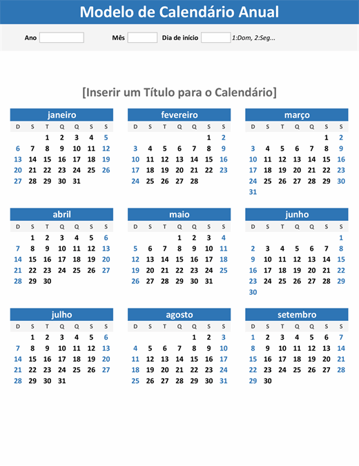 Calendário rápido de qualquer ano (orientação retrato)