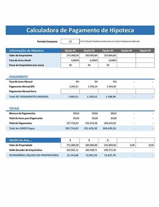 Calculadora de pagamento de hipoteca